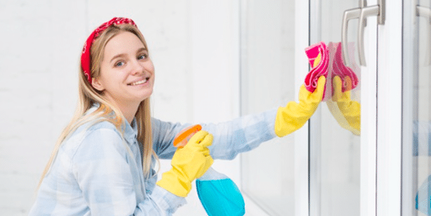 a cleaner cleaning with smiles